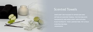 Try our disposable 100% environmentally friendly scented towels